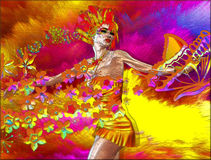 Colorful Abstract of Woman with Flowers and Butterflies. Royalty Free Stock Images