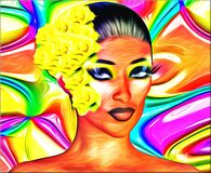 Colorful Abstract of Woman with a Yellow Flower in her Hair. Stock Photography