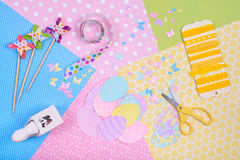 Colorful accessories for craft Stock Photography