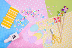 Colorful accessories for craft Stock Photos