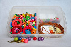 Colorful accessory jewelry plastic and leather Royalty Free Stock Images