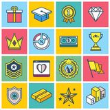 Colorful Achievement Icons. Colorful achievements icon set. Illustrations have line borders and fill colors Stock Photography