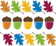 Colorful Acorn and Leaves. Illustration Vector Stock Photo