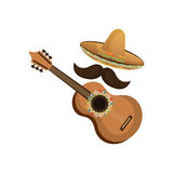 Colorful acoustic guitar musical with hat and moustache mexican culture. Vector illustration Royalty Free Stock Photos