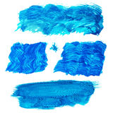 Colorful acrylic brush strokes isolated on white stock illustration