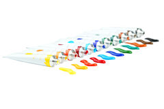 Colorful acrylic paints in tubes on a white background Stock Photo
