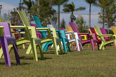 Colorful Adirondack Chair in a Park Royalty Free Stock Photography