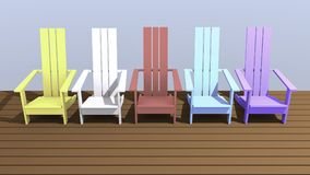 Colorful Adirondack chairs. 3D illustration colorful Adirondack chairs with outdoor balcony Stock Images