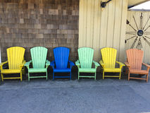 Summer Colorful Adirondack Chairs Royalty Free Stock Photos