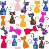 Colorful adorable modern cats seamless pattern and seamless patt Royalty Free Stock Image