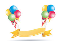 Colorful advertising balloons with banner Stock Image