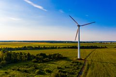 Colorful aerial landscape. Alternative energy source for rural area. Electricity concept. Colorful aerial landscape. Alternative energy source for the rural area royalty free stock photos