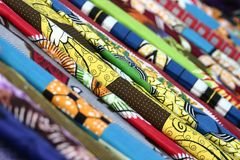 Colorful African Fabrics. From Namibe Angola Stock Photos