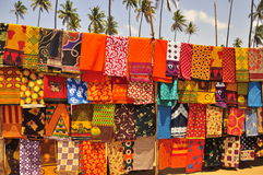 Colorful african market. Capulanas fabric in mozambique Stock Image