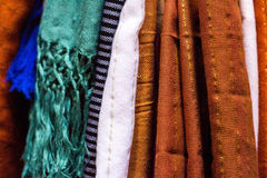 Colorful agave silk scarfs - close-up Royalty Free Stock Image