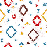 Colorful aged geometric aztec ethnic grunge seamless pattern, vector. Background Royalty Free Stock Photos
