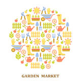 Colorful agriculture, farm and garden market pattern Royalty Free Stock Photography