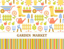 Colorful agriculture, farm and garden market pattern royalty free illustration