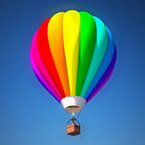 Colorful air balloon against blue sky. 3d illustration Stock Image