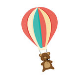 Colorful air balloon with bear Stock Images