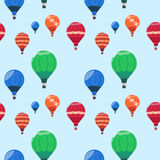 Colorful Air Balloons Baskets Flying Seamless Pattern Stock Photo