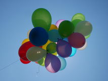 Colorful air balloons on blue sky Royalty Free Stock Photography