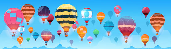 Colorful Air Balloons Flying In Day Sky Banner Royalty Free Stock Photo