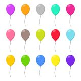Colorful air Balloons set carnival happy surprise helium string. Royalty Free Stock Image
