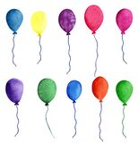 Colorful air baloons. Watercolor object on the white background. Hand-drawn decorative element useful for invitations