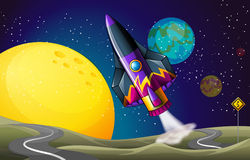 A colorful aircraft near the moon Stock Image