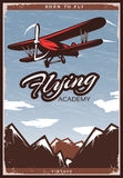 Colorful Aircraft Poster. With flying biplane sky clouds and mountains in vintage style vector illustration royalty free illustration