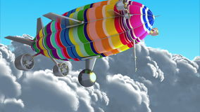 Colorful airship in the clouds. Green screen. Computer generated footage, 3D animation stock video footage