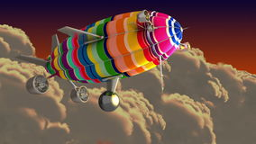 Colorful airship in the clouds. Green screen. Computer generated footage, 3D animation stock footage