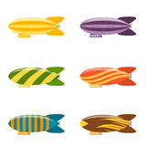 Colorful Airship Set. Vector Stock Image
