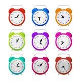 Colorful Alarm Clock Set. Isolated on White Background Stock Photo