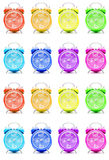 Colorful alarm clocks. A group of colorful alarm clocks Stock Photo