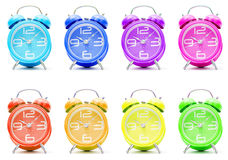 Colorful alarm clocks. A group of colorful alarm clocks Stock Images