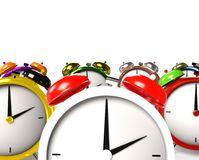 Colorful alarm clocks. 3D Rendering Stock Images