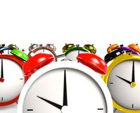 Colorful alarm clocks. 3D Rendering Stock Photos