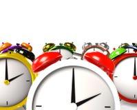 Colorful alarm clocks. 3D Rendering. Illustration Stock Images