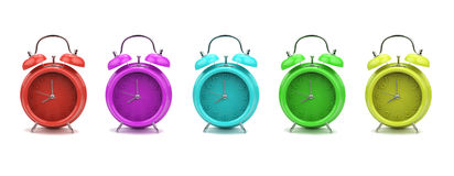 Colorful alarm clocks isolated on white background Stock Photo