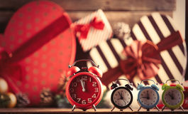 Colorful alarm clocks Stock Images