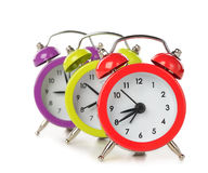Colorful alarm clocks Royalty Free Stock Photography