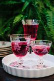 Colorful alcoholic cocktails in beautiful vintage glassware on a. Colorful alcoholic cocktails in beautiful vintage glassware stock image