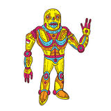 Colorful Alien Android. Full shot of alien android character Royalty Free Stock Photography