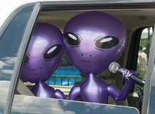 Aliens, broadcasting from the car Stock Photography