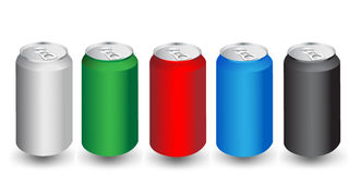 Colorful aliminum drink cans Royalty Free Stock Photos