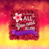 Colorful All You Need Is Love Valentines card Royalty Free Stock Photo