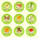 Colorful allergen food set with gluten free, shellfish free, soy free, nut free, lactose free, egg free, honey free, mushroom free Royalty Free Stock Image