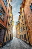 Colorful Alley with Cobblestone Stock Image